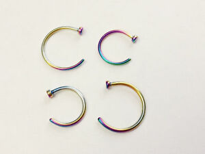 "Nose Ring Titanium Plated Hoop 20g,18g,16g 5/16"" (8mm) or 3/8"" (10mm) diameter"