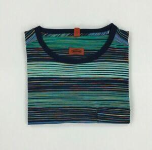 Men's Green & Blue Striped Missoni T-Shirt XXL 2XL Crewneck Short Sleeved B