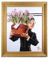 """""""Bellhop with Hyacinths"""" by J.C. Leyendecker TruChrome LE Print Framed w/ CoA"""