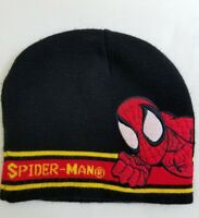 SPIDERMAN Knit Beanie Hat Cap Black Red Kids