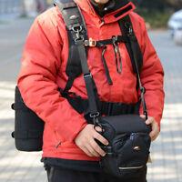 Professional DSLR Camera Shoulder Belt Harness Holder Lens Case Bag Hanging Grip