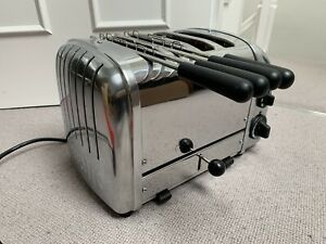 Dualit 4 Slice NewGen 2200W Stainless Steel silver Toaster +2 Sandwich Cages!