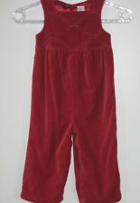 GYMBOREE Girls Size 2 Years Red Velvet Sleeveless Snap Crotch Jumpsuit