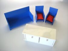Vintage '07 IKEA Modern Doll Furniture Couch 2 Chairs/Red Pillows White TV Stand
