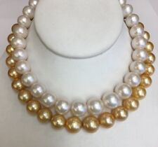 """Gold And WhiteFreshwater Pearls. 12x16mm. 17"""" Silver Clasp"""