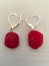 Pair of Natural Red Coral Oval Drop/Dangle Earrings for Pierced Ears
