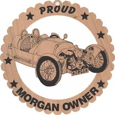 Morgan 3 Wheeler  Wood Ornament Engraved Large 5 3/4 In. Round