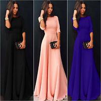 Womens Summer 3/4 Sleeve Plain Bridesmaid Evening Party Cocktail Long Maxi Dress