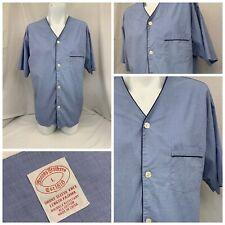 Brooks Brothers Shirt L Blue V Neck Short Sleeve Pajama EUC YGI S9-176