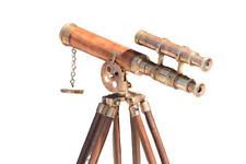 Nautical Vintage Marine Telescope With Tripod Stand Watching Brass Spyglass Item
