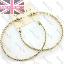 "BIG 3""HOOP EARRINGS thick OPEN WEAVE FASHION HOOPS vintage gold pltd 7.5cm LARGE"