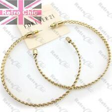 "BIG 3""HOOP EARRINGS thick OPEN WEAVE FASHION HOOPS vintage gold pltd 7.5cm LARGE"