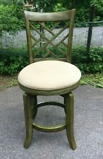 Vintage Solid Wood Swivel Bar Stool with Upholstered Seat Kitchen Chair - Nice!!