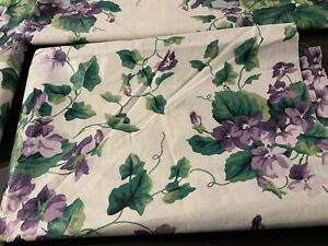 "Vintage WAVERLY Sweet Violets Garden LOT Valance, 98""Topper, Plus Unused Fabric"