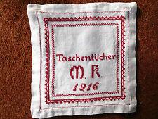 fast antiker Taschentuchbehälter v. 1916 Leinen Monogramm Hohlsaum Stickerei TOP