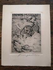 """Ex Libris Michel Fingesten """"Benito Mussolini"""""""