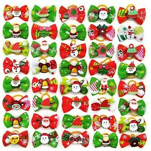 Cute Dog & Puppy Hair Christmas Bows with Rubber Bands Hair Accessories