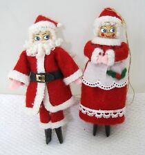 Vintage Handmade Christmas Clothespin Mr Mrs Claus Tree Ornaments Amazing T78