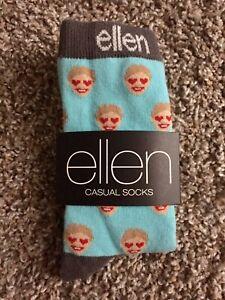 Brand New Ellen Degeneres Casual Blue Face Socks