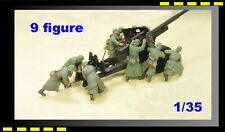 Resin soldier HobbyFan 1/35 German 8.8cm Anti-Tank Gun crew X 9 Figure HF576