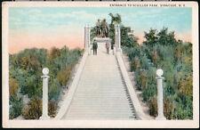 SYRACUSE NY Schiller Park Entrance Goethe & Schiller Monument Vintage Postcard
