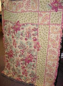 Debutante Yellow & Pink Floral Tapestry Afghan Throw ~ April Cornell