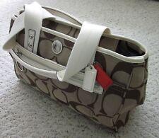 NWT Coach Daisy Signature Tote Purse Handbag Khaki & White F14878
