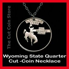 Wyoming 25¢ WY Quarter Cut Coin Necklace Rodeo Bucking Cowboy Horse Equality