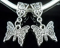 30pcs Tibetan Silver Butterfly Dangle Charms Beads Fit European Bracelet ZY18