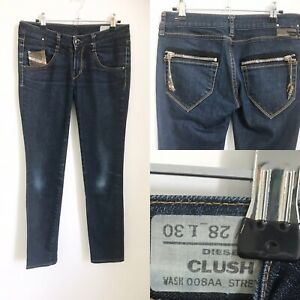 Women's DIESEL CLUSH Blue Jeans W28 L 30 Stretch Wash008AA Skinny Fitted