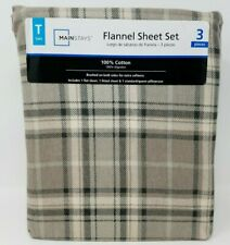 Twin Flannel 3 piece Sheet Set Neutral Plaid  Mainstays New
