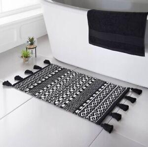 NEW SKANDI JACQUARD STYLISH DESIGN BLACK & WHITE BATH MAT 50x80cm