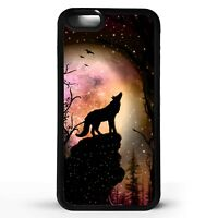 Wolf howling at the full moon wolves star animal silhouette art phone case cover