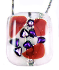 """DICHROIC Fused Glass Ruby Red Pink Purple Shard Small 1"""" Brooch Pin Bargain SALE"""