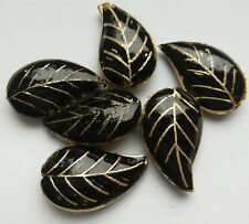 6 Cloisonne Leaf Beads, Black/Gold  25 mm. Jewellery Making/Crafts