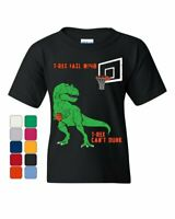 T-Rex Can't Dunk Funny Youth T-Shirt Basketball Tyrannosaurus Fail