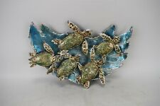 Trudi Gilliam Baby Green Sea Turtles Into the Waves 5/12 Metal Wall Art