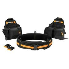 Carpenter Tool Belt Set 3-Piece Black Pouch Holder Storage Pocket Bag Kickstand