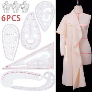 6 pièces coudre courbe règle métrique couture couture couture outil de dessin D1