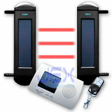 IR Beam Sensor Solar Powered Wireless Perimeter Security Alarm System Outdoor/in