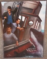 JAWS Shark Chief, Hooper & Quint Glossy Art Print 11 x 17 In Hard Plastic Sleeve