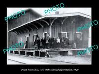 OLD LARGE HISTORIC PHOTO OF POAST TOWN OHIO, THE RAILROAD DEPOT STATION c1920