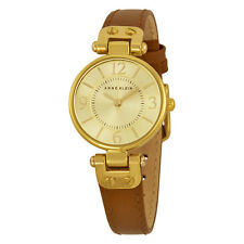 Anne Klein Champagne Dial Brown Leather Ladies Watch 9442CHHY