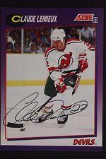 Claude Lemieux New Jersey Devils Autographed 1991 Score #22P Hockey Card JSA 16H