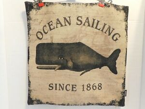 Ocean Sailing Pillow Cover * Since 1896 * Whale * 17.25 X 17 ** FREE SHIPPING **