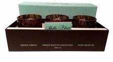 Belle Fleur Candles 3 Votives Classic Floral Collection Verbena Orange Jasmine