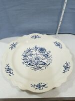 "Blue White Dinner Plate 10 1/2"" Homer Laughlin Dresden Imperial Floral"