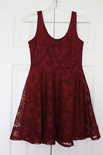 Aeropostale Lace Overlay Sleeveless Above the Knee Skater Dress in Wine Red Sz S