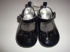 INFANT GIRLS  BLACK PATENT THREE DAISIES MARY JANE SHOES    SIZE 2    NWT