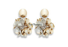 Christian Dior 2017 Mise En Gold Silver Flower White Pearl Tribal Earrings *NEW*